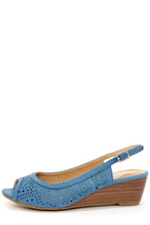 Rise 01 Blue Slingback Peep Toe Wedges