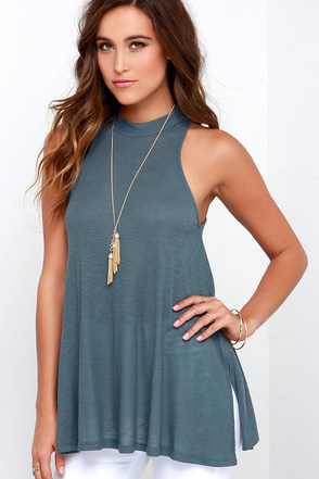 Aim for the Sky Slate Blue Top at Lulus.com!