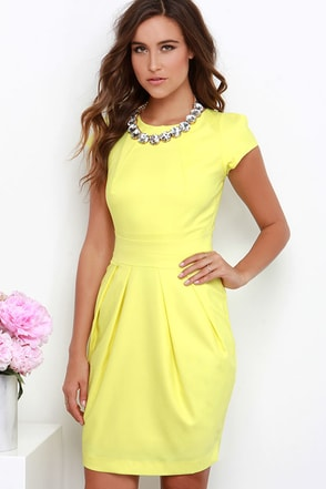 Wolf & Whistle Walking on Sunshine Yellow Dress at Lulus.com!