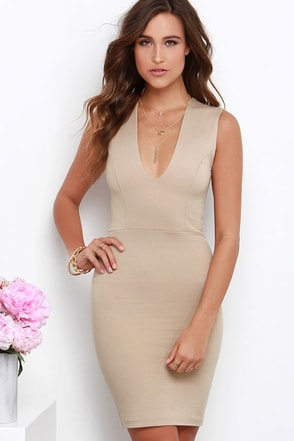 Love the Limelight Beige Dress at Lulus.com!