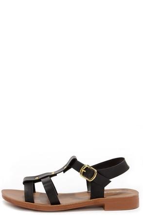 Harbor Stroll Black Sandals at Lulus.com!