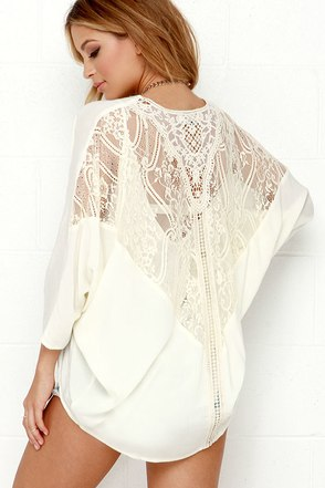 To Be or Not to Be Cream Lace Kimono Top at Lulus.com!