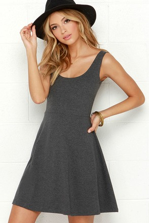 Devil May Flare Dark Grey Dress at Lulus.com!
