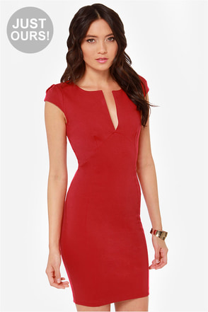 Cute Red Dress Midi Dress Bodycon Dress 42 00