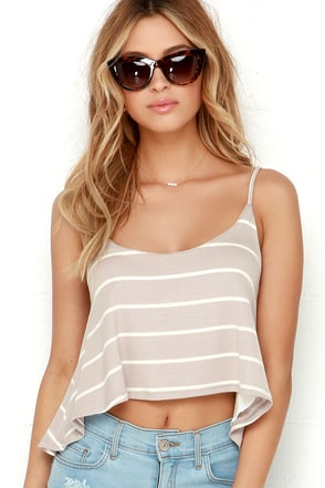 You Sassy Thing You Cream and Taupe Striped Crop Top at Lulus.com!