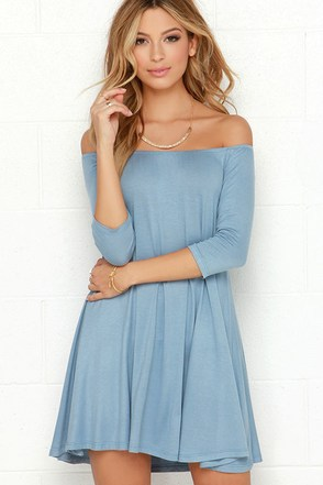 Rock the Bateau Light Blue Off-the-Shoulder Dress at Lulus.com!
