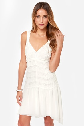 Black Swan Alice Ivory Lace Midi Dress