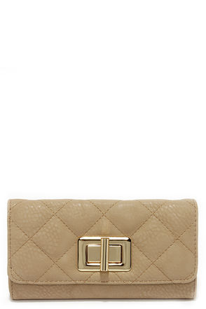 My Lady Taupe Quilted Wallet at Lulus.com!