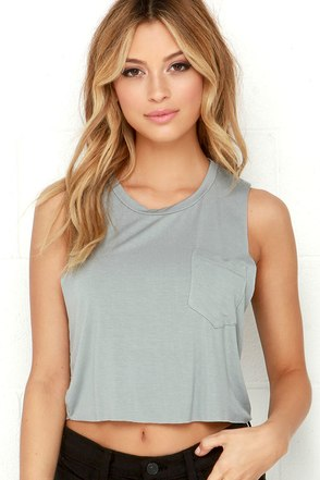 Tank-ly Speaking Grey Crop Tee at Lulus.com!