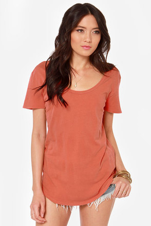 RVCA Label Pippi Washed Coral Tee