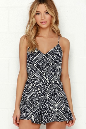 Lucy Love Penelope Navy Blue Print Romper at Lulus.com!