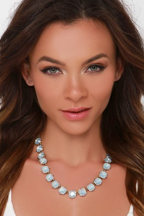 Shine All Mine Blue Rhinestone Statement Necklace at Lulus.com!