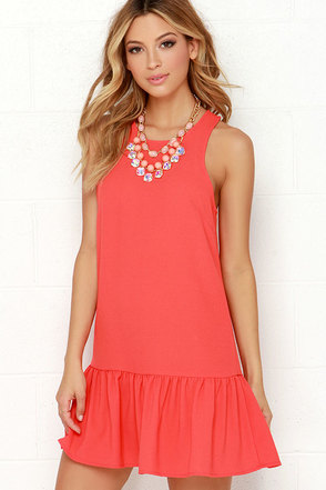 Frill of the Chase Coral Dress at Lulus.com!