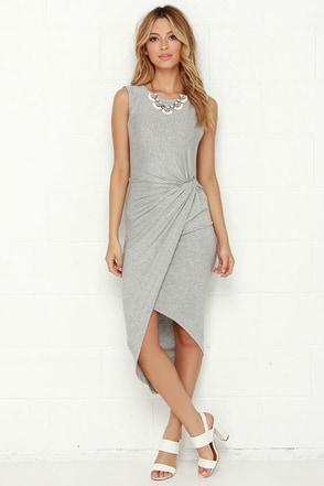 Knotty or Nice High-Low Heather Grey Wrap Dress at Lulus.com!