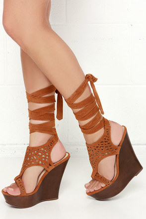 Lift Wrap Nude Suede Leg Wrap Wedges at Lulus.com!