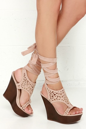 Cute Nude Wedges Vegan Wedges Leg Wrap Wedges 36 00