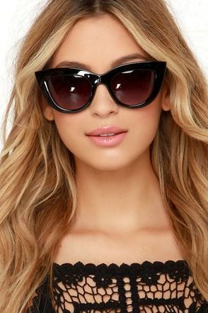 Trip to Meow-i Black Cat-Eye Sunglasses at Lulus.com!