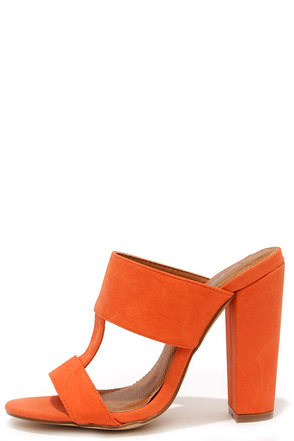 View and Improved Orange Peep Toe Mules at Lulus.com!