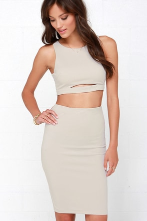 Perfect Pair Light Taupe Two-Piece Dress at Lulus.com!