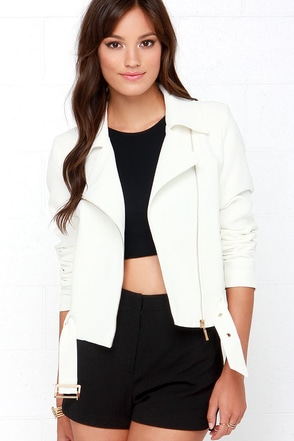 Smooth Operator Ivory Moto Jacket at Lulus.com!