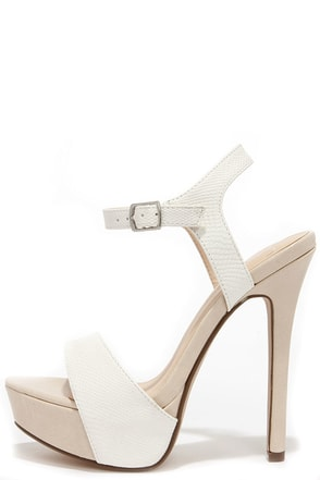 Basking Nicely White and Beige Lizard Platform Heels at Lulus.com!