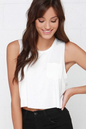 Tank-ly Speaking Ivory Crop Tee at Lulus.com!