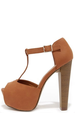 Care for a Lift? Natural T-Strap Peep Toe Platform Heels at Lulus.com!
