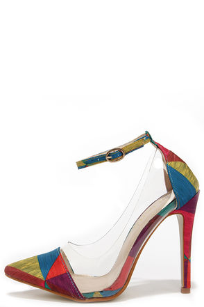 In the Clear Future Rainbow Geometric Print Lucite Heels at Lulus.com!