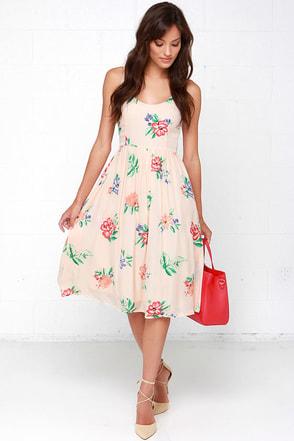 BB Dakota Heleen Peach Floral Print Midi Dress at Lulus.com!
