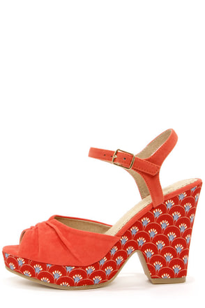 Restricted My Turn Orange Red Print Heels at Lulus.com!