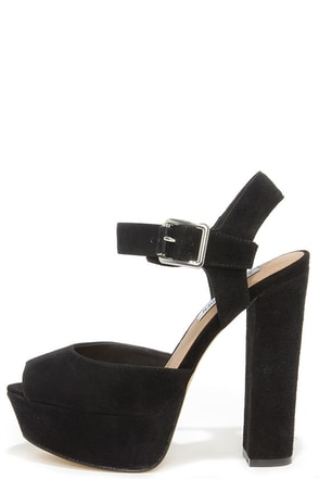 Steve Madden Jillyy Black Suede Leather Platform Heels at Lulus.com!
