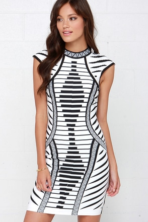 Lumier Law of Attraction Ivory and Black Print Dress at Lulus.com!