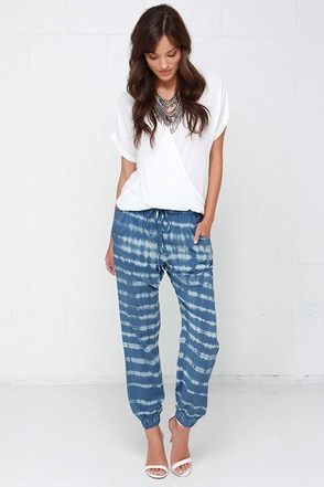 Obey Keegan Blue Tie-Dye Harem Pants at Lulus.com!