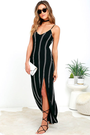 One for the Road Black Striped Maxi Dress 1