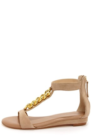 Obsession Rules Goldie Nude Suede Sandals