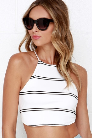 Ride or Die Black Striped Crop Top at Lulus.com!