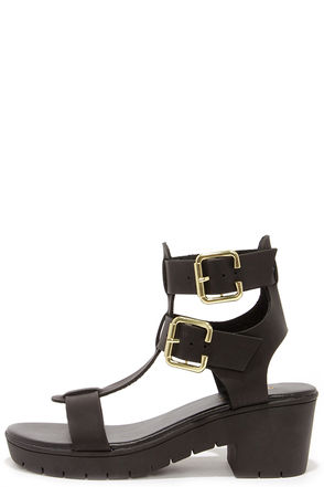 Two to One Black Caged Sandals at Lulus.com!
