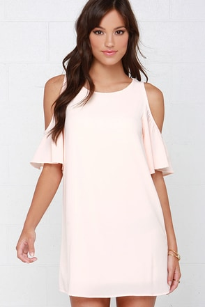 Kiss the Girl Peach Off-the-Shoulder Shift Dress at Lulus.com!