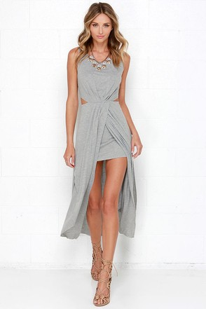 No Mountain High Enough Heather Grey Maxi Dress at Lulus.com!