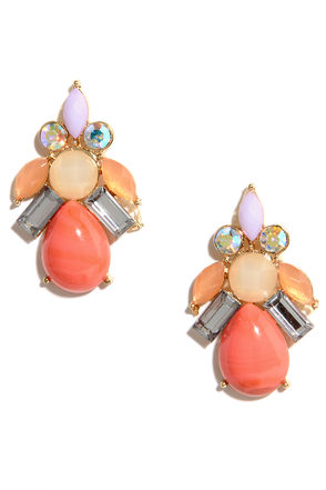 Looking for Bauble Coral Orange Rhinestone Earrings at Lulus.com!