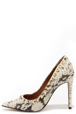 Steve Madden Proto Natural Snake and Gold Studded Pumps at Lulus.com!