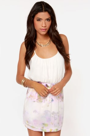 Ladakh Lucid Dreams Lavender Print Mini Skirt