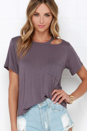 Slice Going Dusty Purple Tee at Lulus.com!