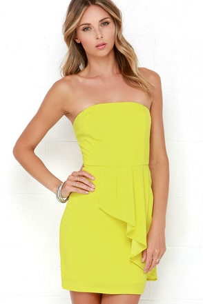 Too Hot to Trot Chartreuse Strapless Dress at Lulus.com!