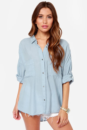 Boyfriends Forever Light Blue Button-Up Top