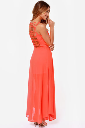 Sizzle and Pop Backless Red Maxi Dress