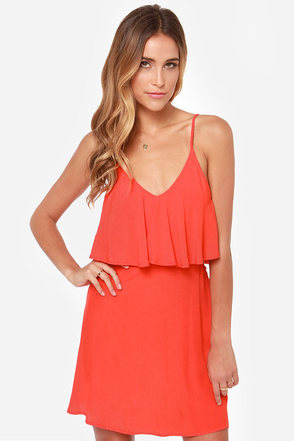 Let It Burn Cutout Coral Red Dress