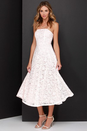 Delve into Decadence Blush Pink Strapless Lace Midi Dress at Lulus.com!