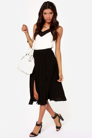 Chic Your Mind Black Midi Skirt