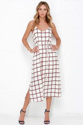 Dee Elle Plaid Attitude Cream Plaid Print Midi Dress at Lulus.com!